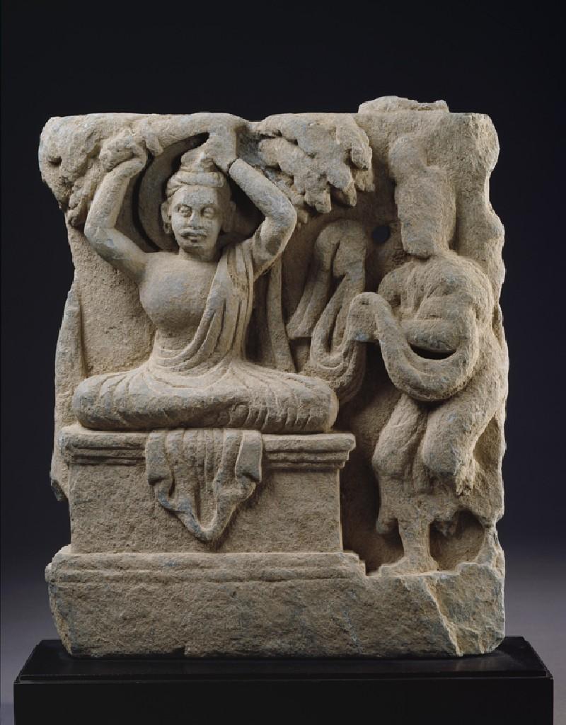 Relief fragment depicting Prince Siddhartha, the future Buddha, cutting his hair in renunciation