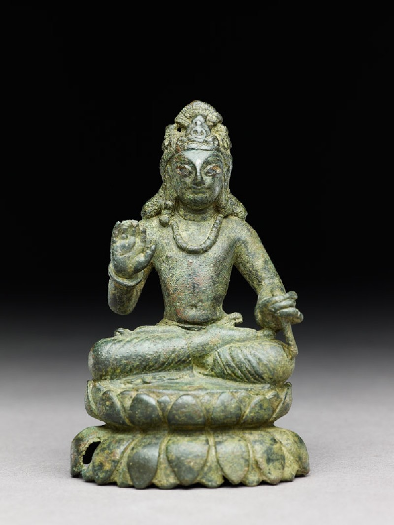 Figure of a seated bodhisattva or Maitreya, the future Buddha, on double lotus petal base (EA1997.250, front            )