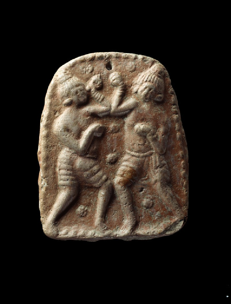 Plaque showing two male figures in a sport or combat