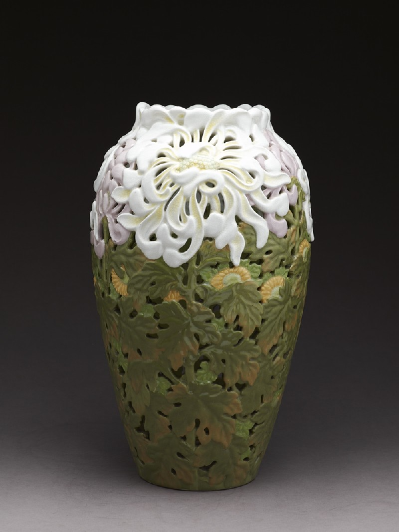 Art Nouveau style vase with chrysanthemums (side           )