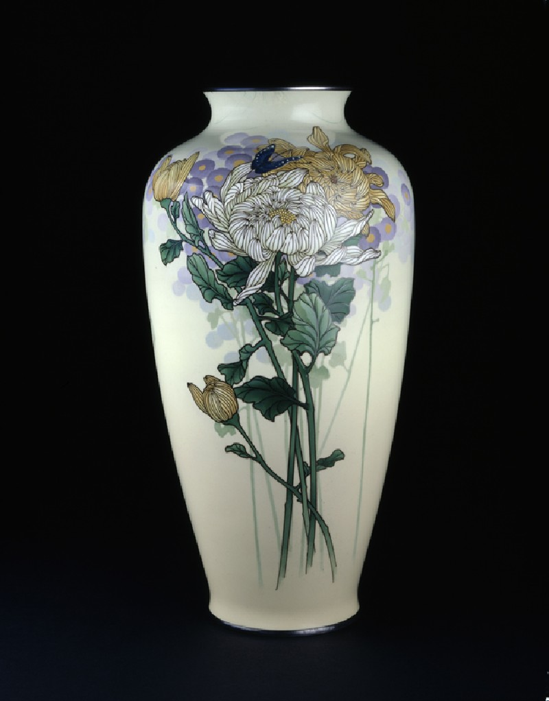 Baluster vase with chrysanthemums and a butterfly (EA1998.214, side            )