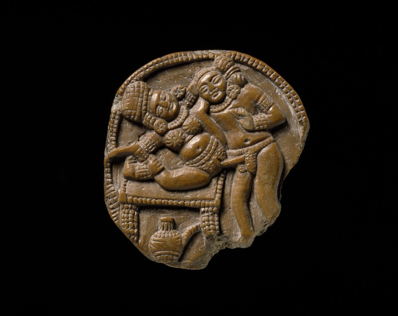 Plaque depicting a couple making love, or mithuna (front           )