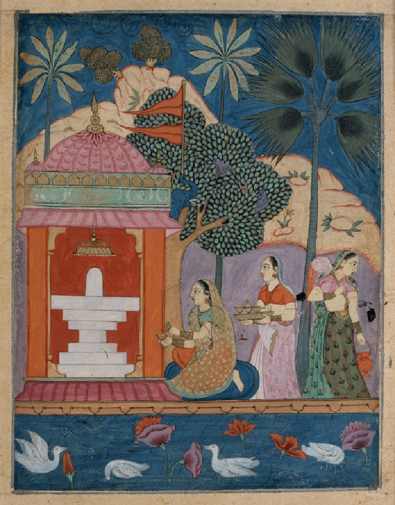A lady at a linga shrine, illustrating the musical mode Bhairavi Ragini