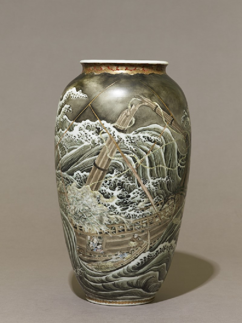 Vase depicting a ship in a stormy sea (EA1999.42, side           )