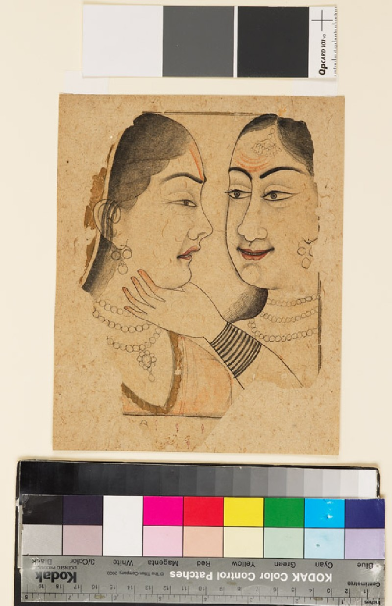 Two ladies, one caressing or squeezing the throat of the other (EA1999.8, front          )