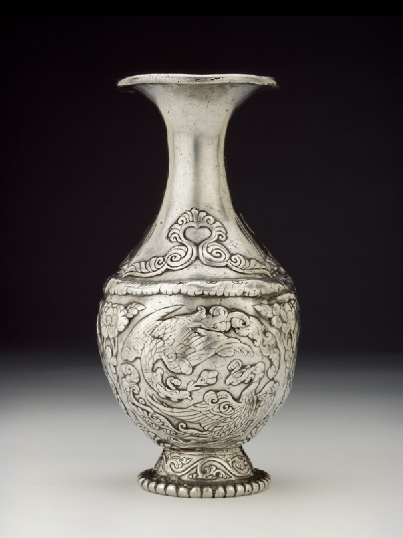 Silver vase with pairs of phoenixes (side           )