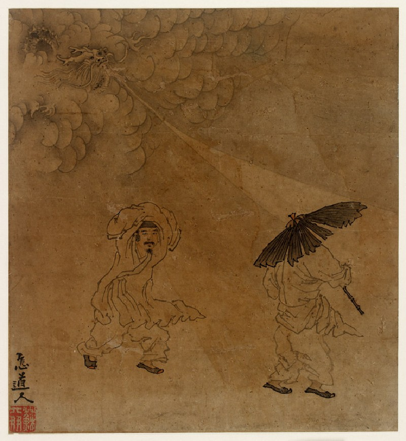 Two figures caught in a storm