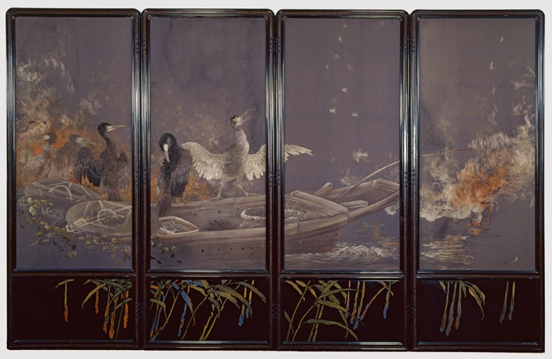 Screen with cormorants fishing at night (front, Cat. No. 18          )