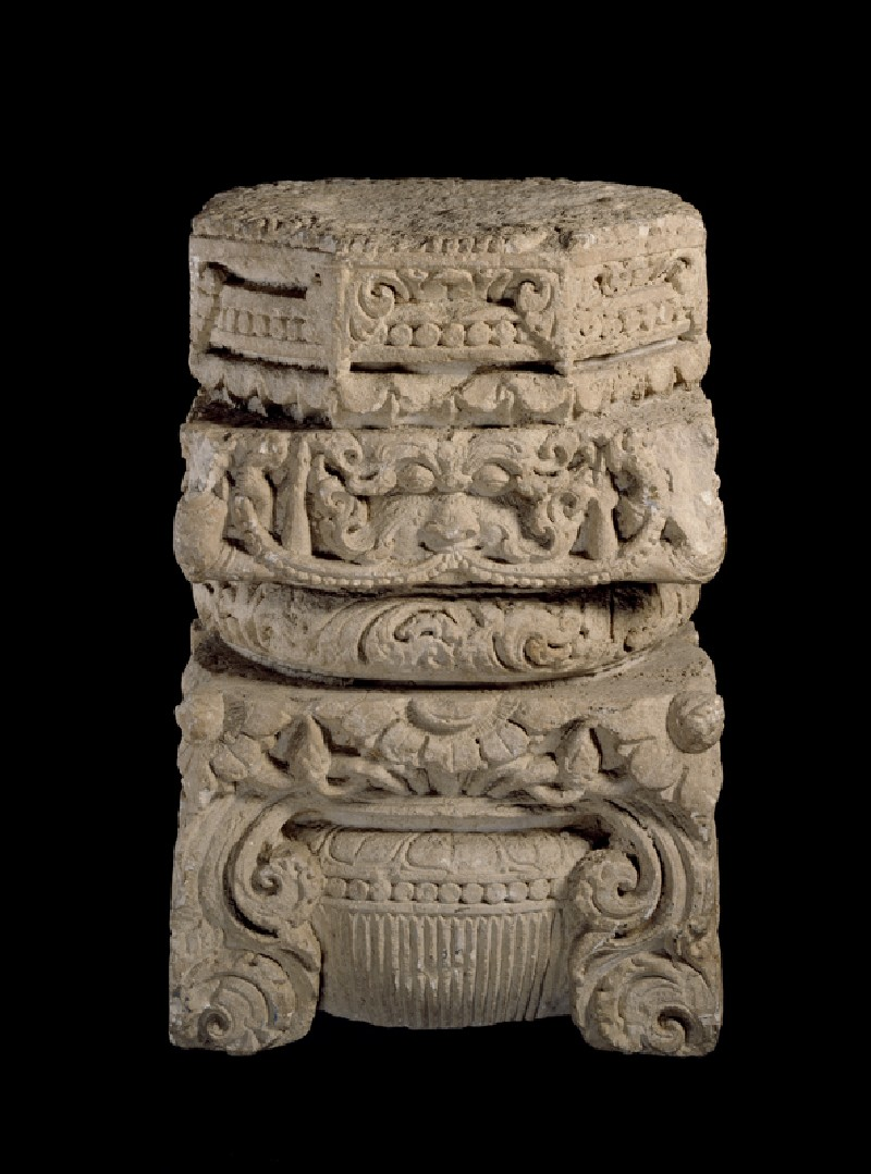 Pillar capital from a temple (oblique           )
