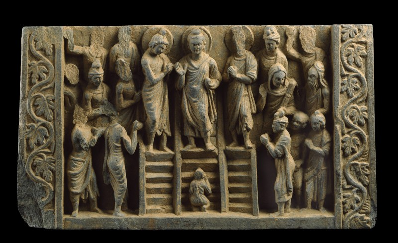 Relief depicting the Buddha's descent from the Heaven of the Thirty-three gods (EA2000.35, front           )