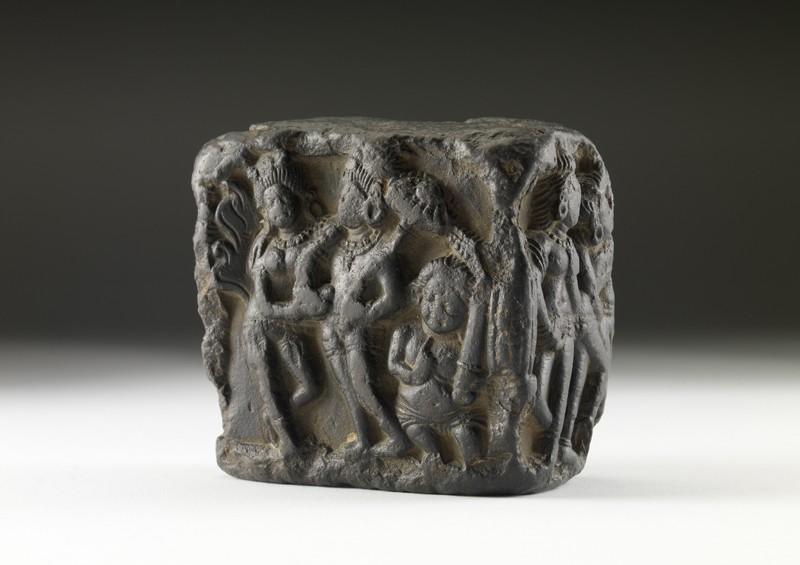 Stone fragment depicting narrative scenes in relief (EA2000.40, oblique           )