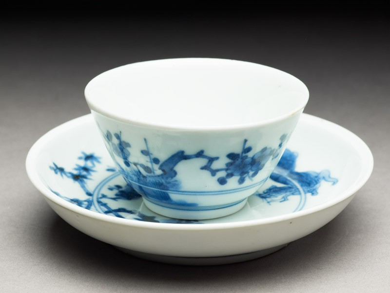 Cup and saucer with leaping tigers (EA2000.45, oblique           )