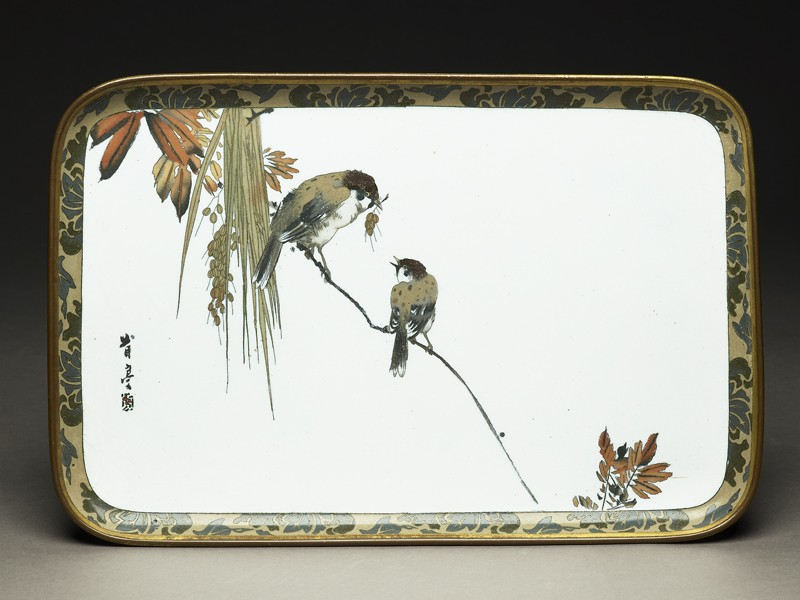 Tray with two sparrows on a branch