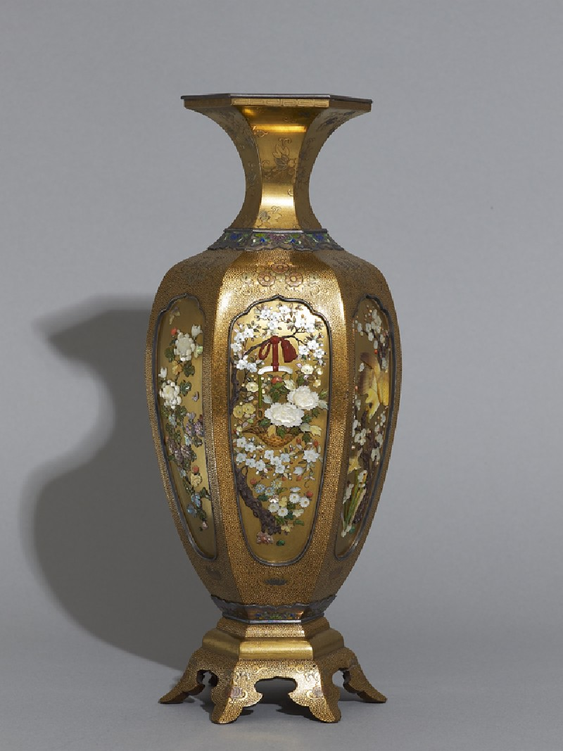 Hexagonal baluster vase with flowers and birds (EA2000.5.a, side            )