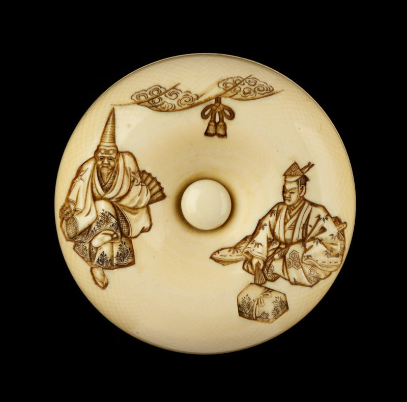 Manjū netsuke depicting characters from the Nō play 'Okina'