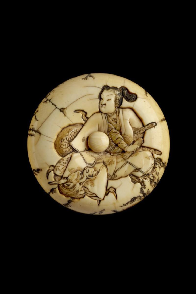 Manjū netsuke depicting Hōjō no Tokimasa meeting Benten disguised as a dragon (EA2001.112)
