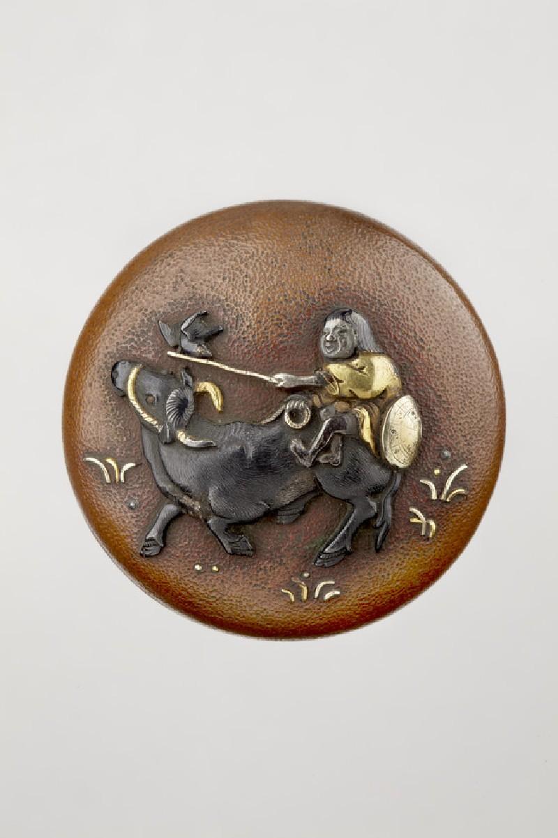 Manjū netsuke depicting a boy riding an ox (EA2001.119)