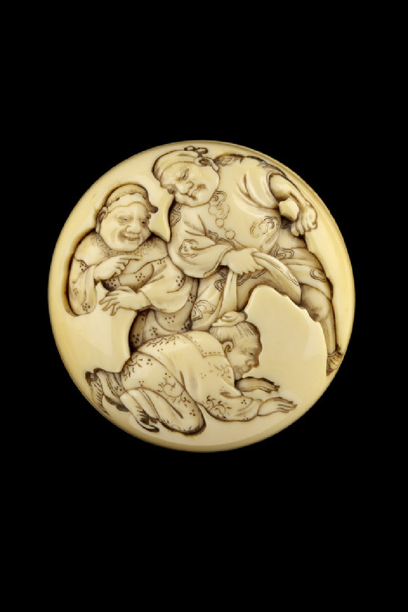 Manjū netsuke depicting Kanshin crawling through a brigands legs. Reverse, a third ruffian pointing at the unfortunate hero (EA2001.124)