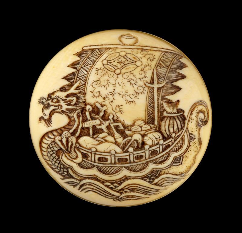 Manjū netsuke with a takarabune, or treasure ship (EA2001.127, detail            )