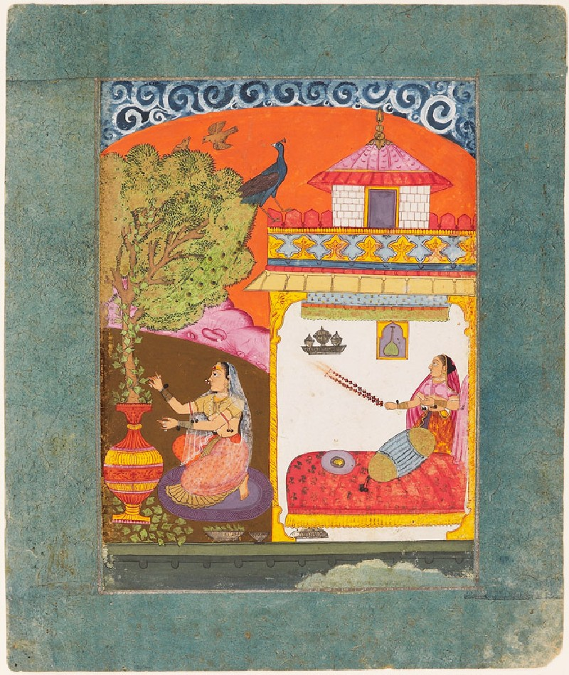 A lady plucking leaves, illustrating the musical mode Gunakali Ragini