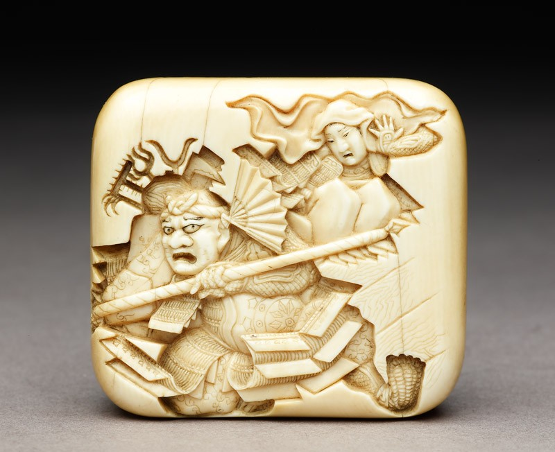 Manjū netsuke depicting Benkei leaping over the warrior Minamoto Yoshitsune