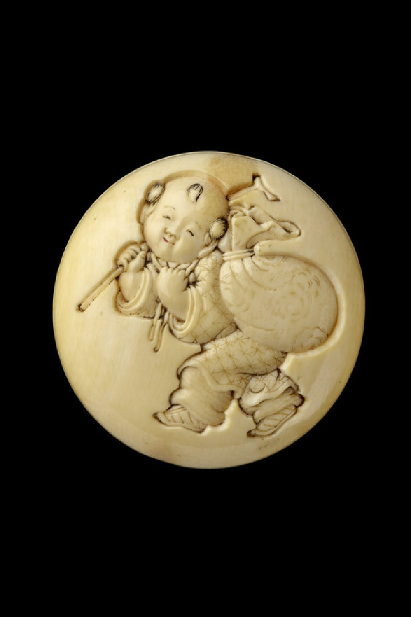 Manjū netsuke depicting a small boy carrying Hotei's sack
