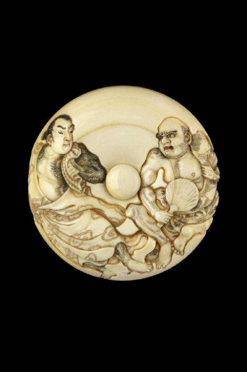 Manjū netsuke depicting Byōtaishū Setsuei and Shōsharan Bokushun in an episode from 'The Outlaws of the Marsh' (Shuihu zhuan). Reverse, a bowl of food (EA2001.84)
