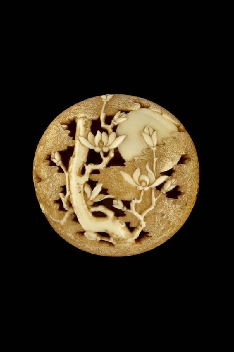 Ryūsa-style netsuke with magnolia tree, moon, and clouds. Reverse,  further branches and clouds