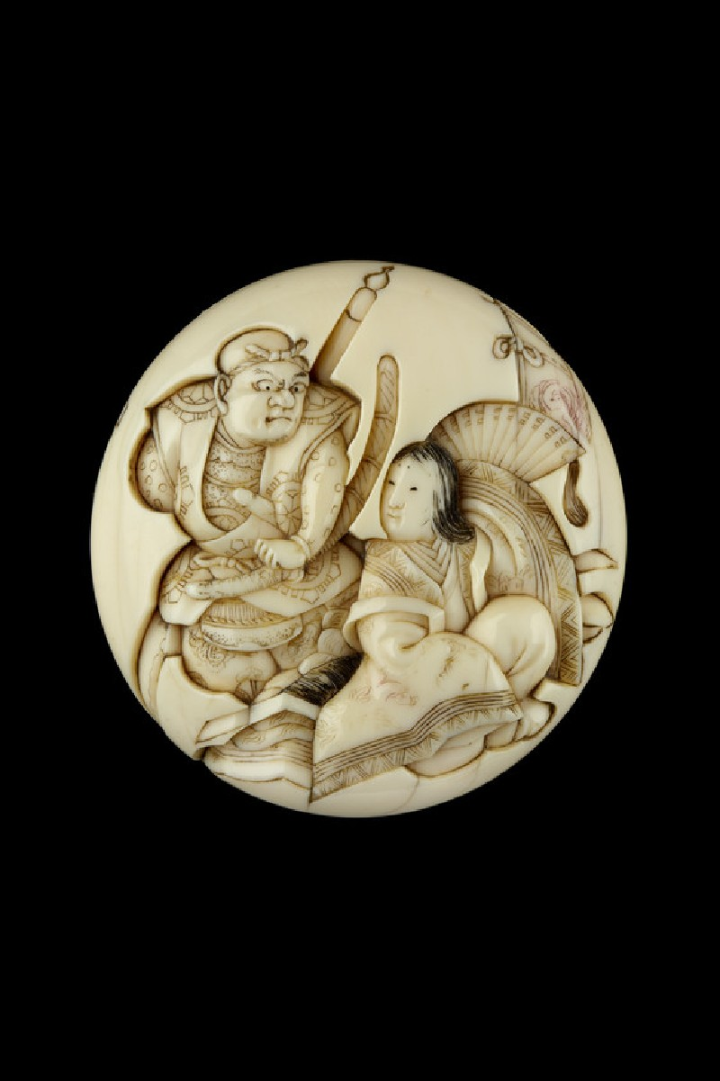 Manjū netsuke depicting Benkei and Tamamushi-hime. Reverse, bamboo blind and Benkei's collection of rustic weapons (EA2001.96)