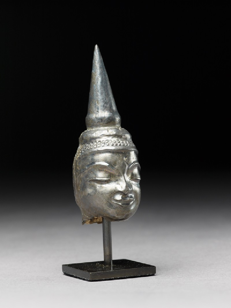 Silver head of the Buddha