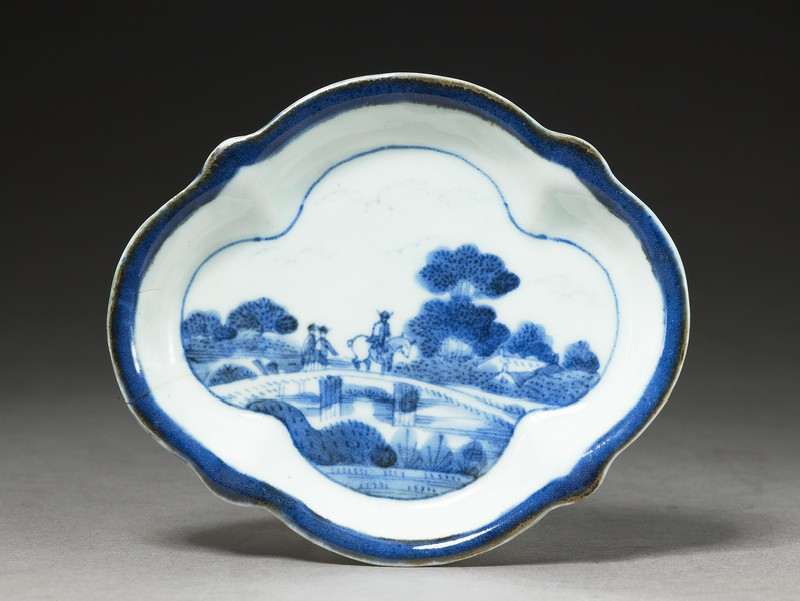 Blue and white dish with European-style landscape scene (EA2002.59, top           )