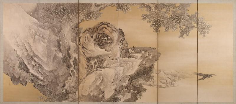 Six-fold screen depicting a roaring tiger (EA2002.61.a, front             )