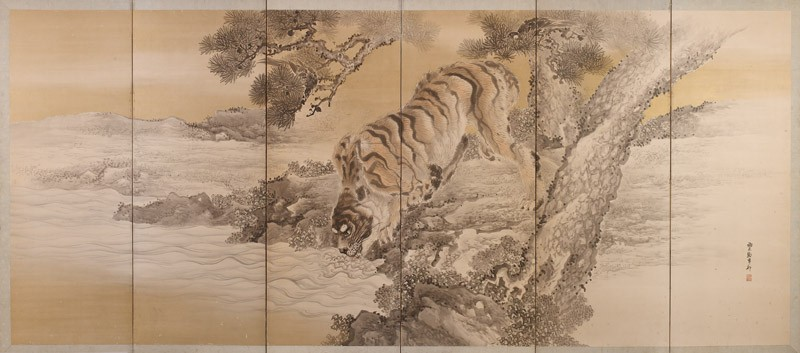 Six-fold screen depicting a drinking tiger (EA2002.61.b, front, front             )