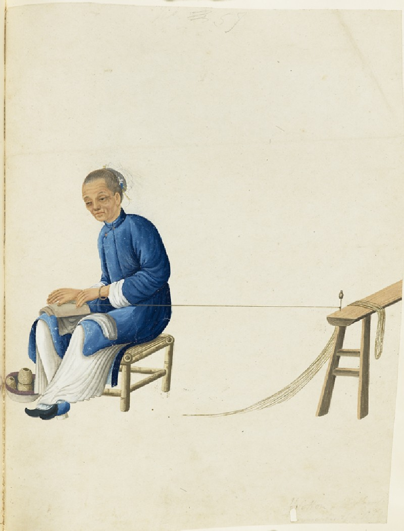 An Old Woman Twisting Cotton