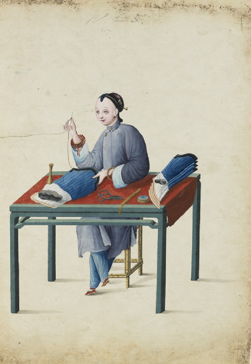 A Woman Making Stockings (EA2003.4.33, front             )