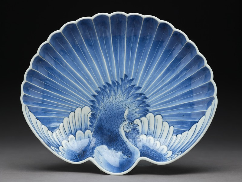 Dish in the shape of a peacock with fanned tail