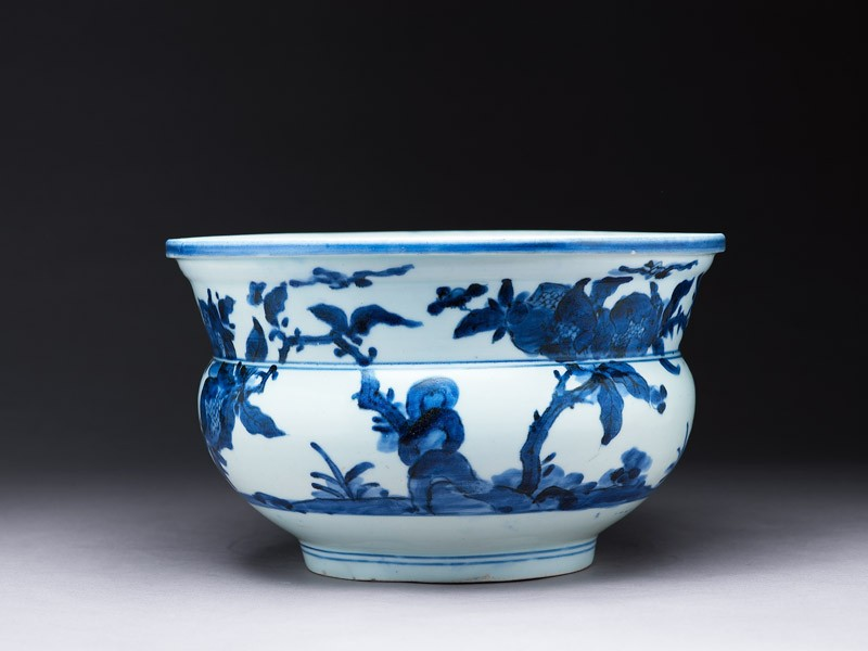 Bowl with trees and birds