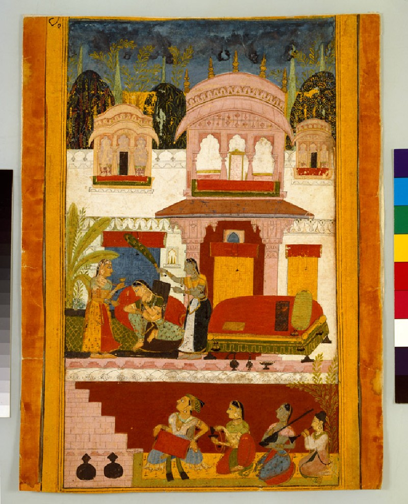 Forlorn lady with maids, illustrating the musical mode Patamanjari Ragini