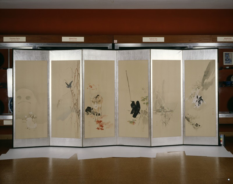 Six-fold screen depicting creatures and flowers of the twelve months