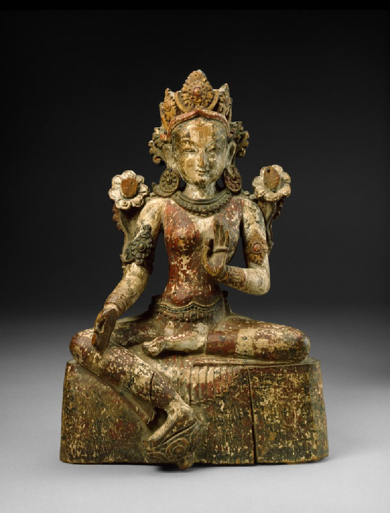 Seated figure of Tara wearing a foliate crown (front           )