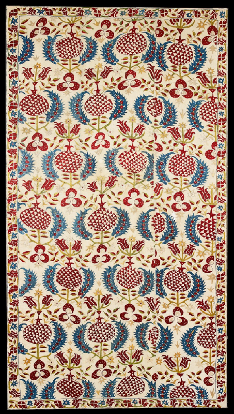 Wall hanging with tulips, pomegranates, and serrated leaves (EA2007.104, front            )