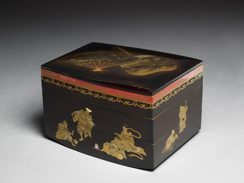 Picnic set box depicting the seven gods of good fortune (oblique              )