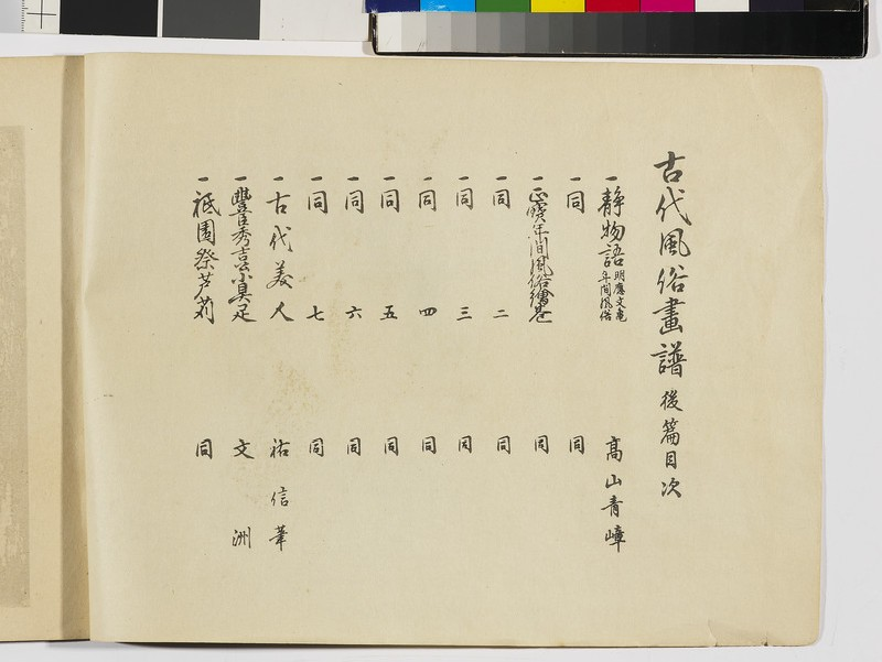 Customs of days of old (Kodai Fūzoku-gafu), vol. 2, contents (front              )