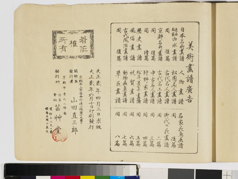 Customs of days of old (Kodai Fūzoku-gafu), vol. 2, publication details (front               )