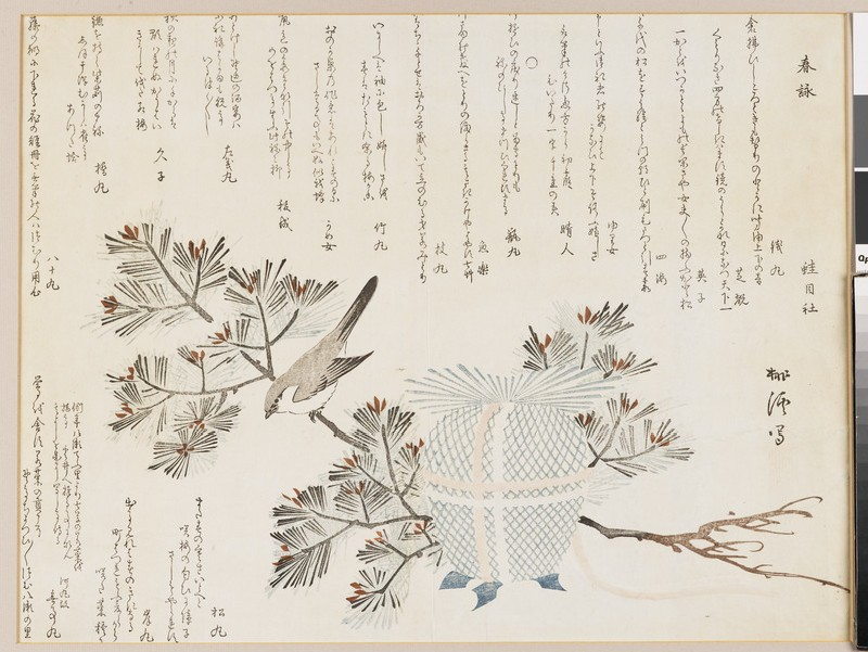 Small bird on a pine sapling with an incense burner (EA2007.147, front            )