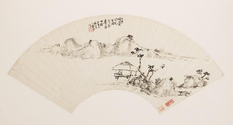 Mountainous landscape with figure in a pavilion (front              )