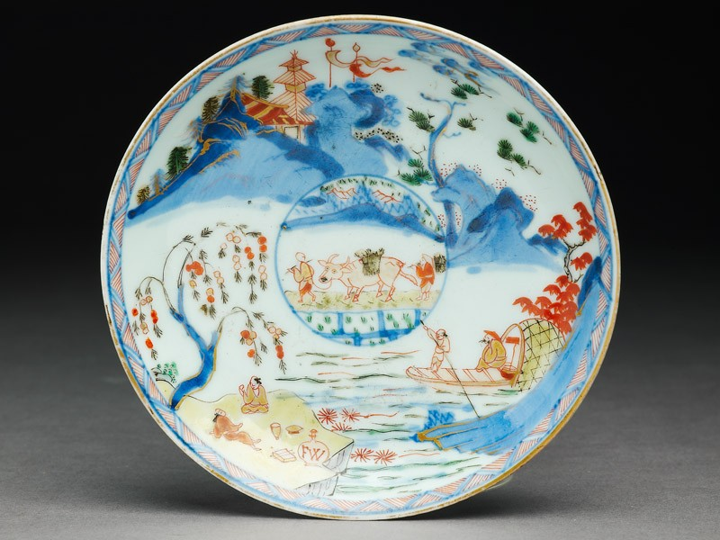 Saucer with Japanese picnic scene (EA2007.257, top            )