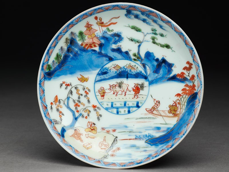 Saucer with Japanese picnic scene (EA2008.11, top           )