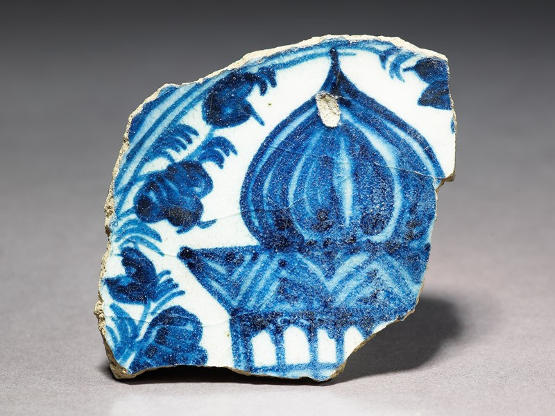 Base fragment of a bowl with part of a building