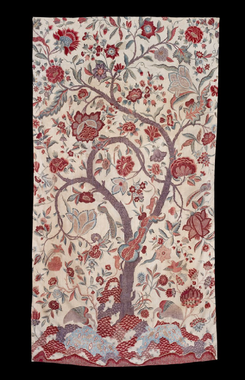 Fragment of a palampore, or bed cover, with tree of life (front           )